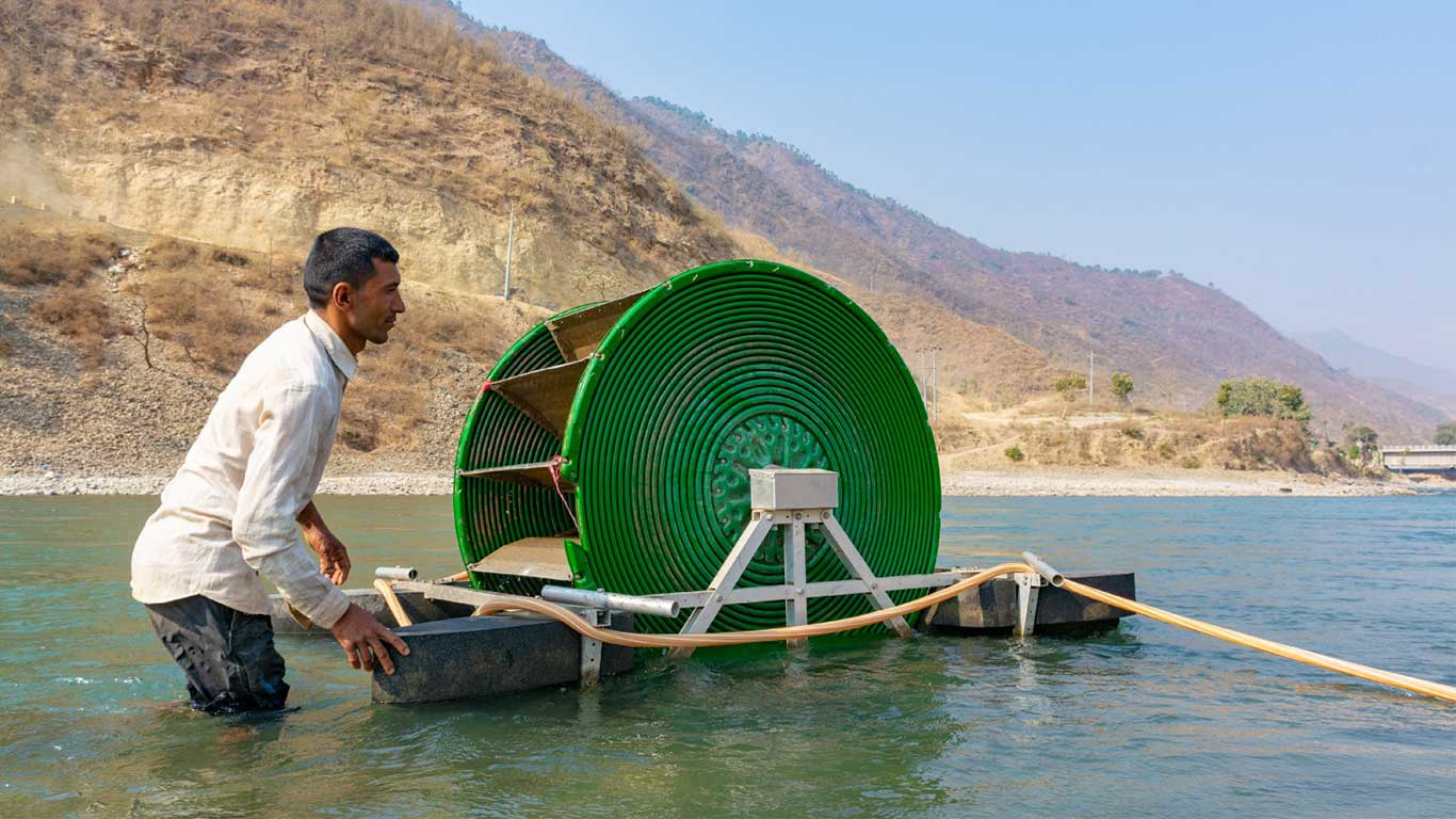 The Barsha Pump is the first type of hydro-powered pump developed by aQysta.